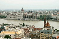 Parliament seen from the Fishermen´s Bastion, Budapest. Hungary