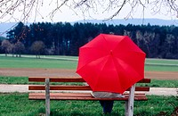 Person with red umbrella sitting on bench under tree. Germany