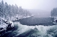 Yellowstone River in winter. USA