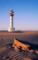 Punta del Fangar lighthouse. Ebro delta. Tarragona province. Catalunya. Spain.