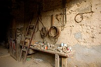Old abandoned carpenter´s workshop. Huesca, Aragón, Spain