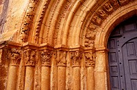 Romanesque gate. Escalada church. Burgos. Spain.