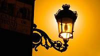 Street lamp on Main Square, Madrid. Spain