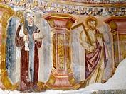 Frescoes, Santa Cristina de Ribas de Sil monastery. Orense province, Galicia, Spain
