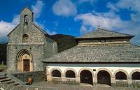 Sancti Spiritus chapel or Silo de Carlomagno and Iglesia de Santiago. Roncesvalles-Orreaga. Navarra. Spain.
