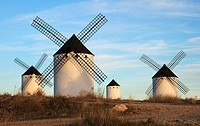 Windmills in Campos de Criptana, Ciudad Real, La Mancha, Spain.