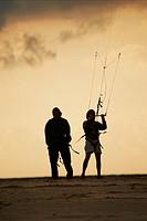 Kitesurf at beach. Tarifa, Cádiz province, Andalusia, Spain
