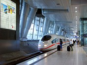 Airport train station, ICE train. Frankfurt am Main, Germany