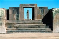 Ponce Monolith. Tiahuanaco ruins, Bolivia