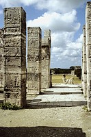 Chac-Mool. Chal, Chaak (top mayan God of agriculture,fertility, rain and lightning) on temple of warriors. Maya Architecture /Toltec influence Chichen...