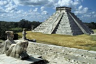 El Castillo (Pyramid of Kukúlcan). Chac-Mool, Chak , Chaak (top mayan God of agriculture,fertility, rain and lightning) on temple of warriors. Chichen...