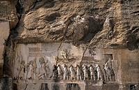 Relief of the victory of Darius I against the Gaumata magian. Behistun. Iran.