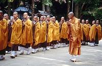 Student monks walk along while a teacher watches closely. Kongobuji. Koyasan. Japan.