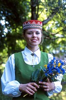 Woman, Traditional Folk Costumes, National Festival Parade, Riga, Latvia Model Release52-03