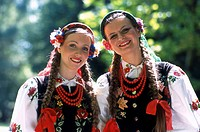 Polish Women, Costumes from Lowicz Region, Lazienki Park, Warsaw, Poland, Model Release52-09, 10