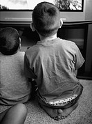 Two brothers sit side by side as they play video games.