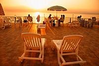 Dead Sea tourist resort at sunset, Jordan
