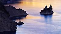 The Phantom Ship in Crater Lake, Oregon, at sunrise