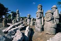 Harubang, the guardians of the islan. Jeju Island. Republic of Korea.