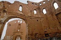Ruins of the Civil War bombings. San Martín church, Convento de San Rafael at the back. Belchite. Zaragoza. Aragon. Spain.