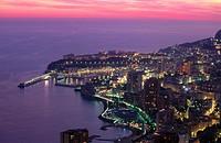 Montecarlo at dusk. Côte d´Azur, Monaco