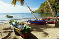 Soufriere town, under the same name volcano. Santa Lucia. West Indies. Caribbean