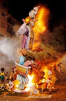 ´Nit del Foc´ (night of the fire) when the ´Fallas´ are burned down at Valencia. Spain.