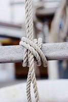Ropes on a sailing-ship, harbour, Adriatic Sea. Grado, Regione Autonoma Friuli Venezia Giulia, Italy. Europe.