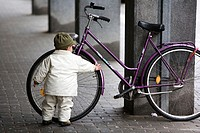 Boy Discovers a Bicycle in Maribor, Slovenia