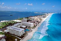 Air view of the Hotels area. Cancun. Mexico (2003)