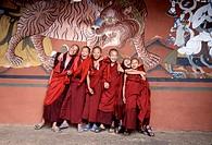 Young buddist monks under a tiger mural. Paro Dzong, Bhutan