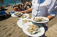 Sardines. Restaurante Beach Club El Fuerte. Playa de Venus. Marbella. Andalucia. Spain.