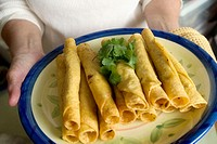 Mexican cuisine - Plate of taquitos.