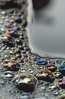 Soap bubbles in dishwater.
