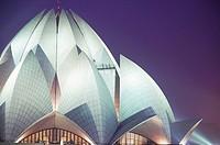 Bahai Lotus Temple at night. Kalkaji. Delhi. India