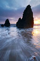 Sunset over sea stacks at Rodeo Cove, Golden Gate NRA, Marin Headlands, San Francisco, California, USA