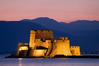 Nauplia, Greece, Bourtzi Island and Fortress at twilight.