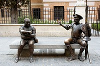 Don Quixote and Sancho Panza statues by Pedro Requejo in front of Cervantes house-museum, Alcalá de Henares. Madrid, Spain