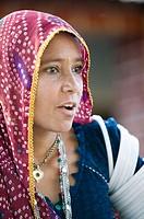 Portrait of Rajasthani woman. Bhenswara. Rajasthan. India
