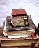 Antique books in an old church at Lari, Peru.