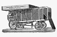 Threshing machine. Antique drawing, ca. 1900. / Trilladora con ventiladores y criba. Antigua ilustración de alrededor de 1900.