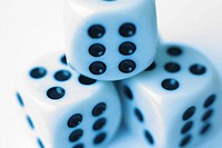 Three dice with numer six facing out