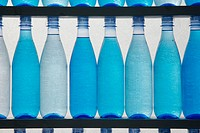 Bottles filled with blue water