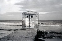 Panoramic view of an abandoned hut in Alboraya beach. Valencia. Spain.
