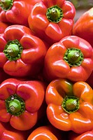 Red peppers for sale at market, Ruzafa quarter, Valencia. Comunidad Valenciana, Spain