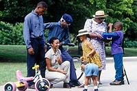 Three generation family gathering
