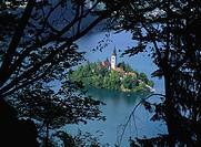 Slovenia, Bled, Bled Island Blejski Otok, Lake Bled, Church of the Assumption