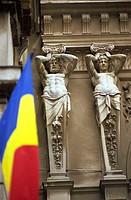 Romania, Bucharest, Pasajul Villacross Arcade, Romanian Flag