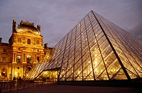 The Louvre, Napoleon court and Glass Pyramid built by IM Pei. Paris. France.