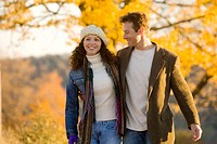 Couple enjoying a sunny day in autumn